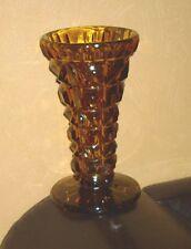 1 Vase, Blumenvase, Tischvase, Glas, Pressglas, braun