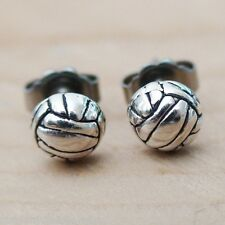 Volleyball Earrings - 925 Sterling Silver - Volleyball Stud Post Team Sport NEW