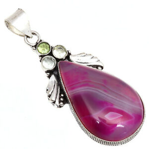 """Pink Botswana Agate Gemstone Gift For Him 925 Silver Jewelry Pendant 2.25"""""""