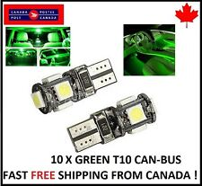 10X T10 GREEN 194 168 1W 5SMD LED No Error Canbus Side Lamp Wedge Light Bulb