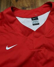 Nike Baseball Vapor LS Red Pullover Windshirt Warm-Up Batting Jacket Men XXL 2XL