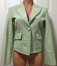 BEBE Leather Blazer Jacket Pale Sea Foam Green Single Button Front Size Small