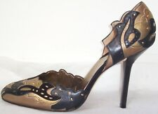 DONNA KARAN Gold Black Leather D'Orsay Pumps Shoes 10