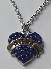 BLUE AUNT FAMILY GIFT CRYSTAL LOVE HEART PENDANT RHINESTONE NECKLACE