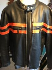 USA Bikers Dream Apparel, Leather Motorcycle Jacket, Mens Size 3XL