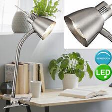 Lujo LED Mesa Pinza Lámpara Salón Lectura Iluminación Flexo Reflector Plata