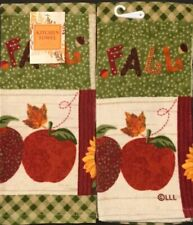 Set Of 2 Autumn Sunflower Fall Apple Acorn Kitchen Tea Bar Dish Hand Towels