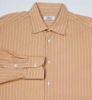 BRIONI Recent Orange Striped Cotton Handmade Dress Shirt (43) 17-34