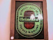 Heineken Beer Holland Glass Sparkled Mirrored Wood Framed Sign
