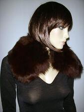 COLLO PELLICCIA VOLPE marrone PIENO Fox fur collar cappotto giaccone D0041