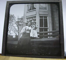 c1900 CHILD With DOLL OUTSIDE HOUSE With MOTHER - Glass Lantern Photo Slide