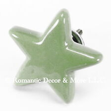 Green Ceramic Star Cabinet Knobs, Drawer Pulls & Handles Kids Furniture #C06