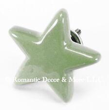 Green Ceramic Star, Cabinet Knobs or Dresser Drawer Pulls for Nursery #C06~Set/8