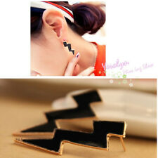 Punk Rock Fashion Golden Metal Enamel Big Bolt Lightning Earrings Ear Stud
