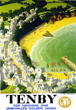 Tenby for sunshine and unrivalled golden sands   Train Rail Travel  Poster Print