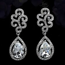Rhodium Plated Clear Crystal Rhinestone Wedding Tear Drop Dangle Earrings 00329
