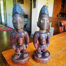 Antique Yoruba Tribe Ibeji Twin Figures Hand Carved Wood Statues-Nigeria Africa
