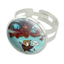 Trump Trade War with China Red Dragon Silver Plated Adjustable Novelty Ring
