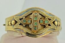 Georgian 14K & Emerald Wide Bracelet Wonderful Condition