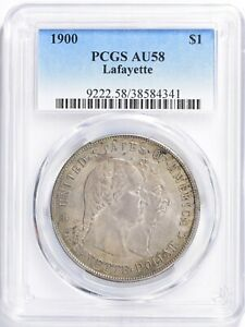 1900 Lafayette $1 Commemorative Silver Dollar PCGS AU58, Toned