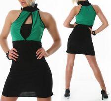 Sexy MISS trendy da donna pencil mini abito stretch dress nero verde 34/36/38 NUOVO