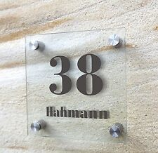 Hnr Haus-nr Hausnr Hausnummer, Namensschild, Glaslook Acryl 20 x 20 cm Schild