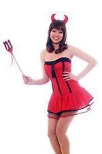 Damen Kostüm Set: Sexy Teufelin She-Devil Teufelsweib mit Hörnern und Dreizack S