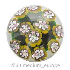 Murano Paperweight Glas Briefbeschwerer Blumen Grün Gelb glass flower green