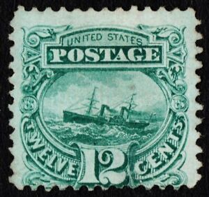 US Sc# 117 *MINT NO GUM* { 12c S.S. ADRIATIC } PICTORIAL OF 1869 PINHOLE CV$ 700
