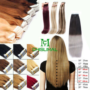 16 To 28inch Seamless Tape In Skin Weft 100% Remy Human Hair Extensions 100gr