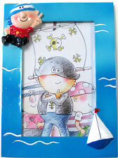 Bilderrahmen kleiner Kinder Pirat Fotorahmen Schiff blau Junge Polyresin 3D