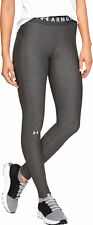 Under Armour HeatGear Long Womens Compression Tights Grey Gym Running Workout