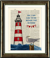 OLD BOOK PAGE ART PRINT - Lighthouse Seaside Seagull dictionary page Wall Art