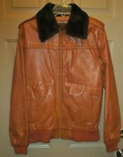 SEARS Vintage Medium Brown Faux Fur Collar Flight Bomber Leather Jacket-Sz-38R