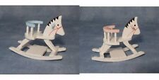Nursery Rocking Horse Blue For A Boy Or Pink For A Girl, Miniatures Doll House