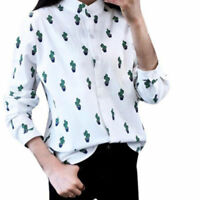 Cactus Printing Long Sleeve Women Stand Collar White Shirts Loose Blouse Tops F