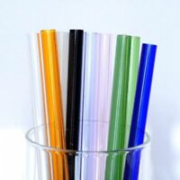 7 Color Reusable Straight Pyrex Glass Drinking Straw Wedding Birthday Party Hot