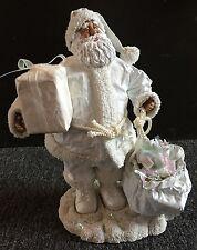 Beautiful Holiday Christmas Composite Paper White Beachy Santa Figure Decor