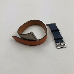 HERMES STYLE LEATHER DOUBLE TOUR APPLE WATCH BAND