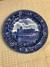 "Antique Emma Willard School, Troy N Y Wedgewood 9 1/4"" Blue Flow Blue Plate"