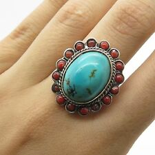 925 Sterling Silver Large Real Turquoise & Coral Gemstone Ring Size 7