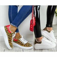 Womens Leopard White Oversized Chunky Sneakers Trainers Rubber Soles Platform