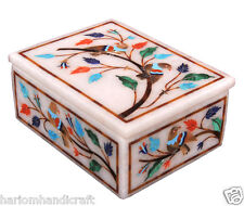 """4""""x3""""x2"""" Marble Jewelry Ring Box Rare Inlay Marquetry Mosaic Friends Gift H2267"""