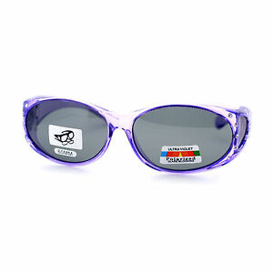 Womens Polarized Fit Over Glasses Rhinestone Sunglasses Oval Frame