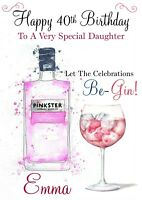 personalised Birthday card Gin Any name/age/relation