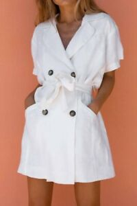 POSSE Marly Dress Off White Tuxedo Buttons Tie Waist | Size M/L