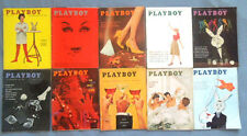LOT OF 10 1959 PLAYBOY MAGAZINES ~ ALL COMPLETE WITH NUDE CENTERFOLDS ~ VARGAS