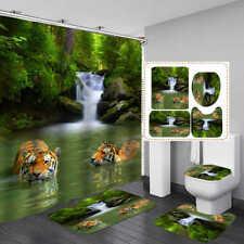 Forest Wild Tiger Door Bath Mat Toilet Cover Rug Shower Curtain Bathroom Decor