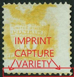 """US # 116 MINT NO GUM { SCARCE """"IMPRINT CAPTURE VAR } 10c SHIELD & EAGLE 1869"""