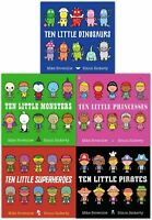 Ten Little Series Books Collection Set Mike Brownlow Pirates, Monsters, Dinosaur